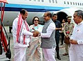 M. Venkaiah Naidu being received by the Governor of Manipur, Dr. Najma Heptulla, the Chief Minister of Manipur, Shri N. Biren Singh and the Deputy Chief Minister, Shri Y. Joykumar Singh, on his arrival, in Imphal, Manipur.JPG