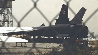 "Firefox (film) - Full-scale Mig 31 Firefox model used in the film ""Firefox"" parked at Van Nuys Airport, California in May 1982"