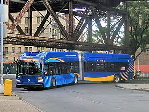 MTA Regional Bus Operations - An MTA articulated New Flyer Xcelsior XN60 articulated bus in the current livery, introduced in spring 2016. With the new livery, there is no longer any distinction between New York City Bus and MTA Bus discernible to the general public except for the garage sticker.