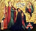 Maître de Rheinfelden (vers 1460) , Sainte Barbe présentant le donateur à la Vierge.jpg