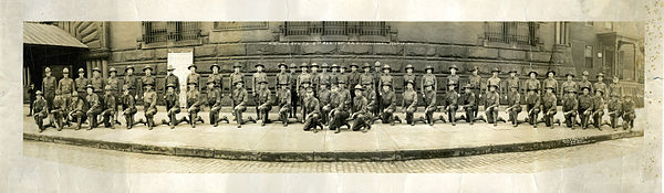 Machine Gun Company, 5th Regiment, Ohio Infantry, Ohio National Guard, in front of the Cleveland Grays Armory in Cleveland, Ohio