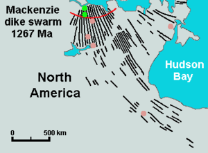 Large igneous province - Map of the Mackenzie dike swarm in Canada