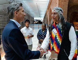 Toba people - Félix Díaz meets with Argentina President, Mauricio Macri.