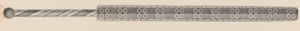Macuahuitl - Drawing part of the Catalog of the Royal Armoury of Madrid by the medievalist Achille Jubinal in the 19th century, original specimen was destroyed by a fire in 1884.