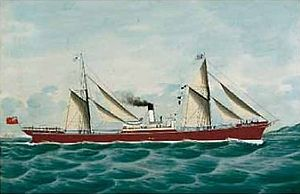 Short Brothers of Sunderland - Ritratto della steam ship Magnus Mail in navigazione, painted in 1895 by Antonio Luzzo. Short Brothers built SS ''Magnus Mail'' in 1889.