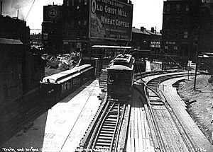 Pleasant Street Incline - Pleasant Street Portal in 1901 when the Main Line operated through the Tremont Street subway. An inbound Main Line (now Orange Line) test train is at the high platform at left, while an inbound trolley is on the right. This view faces south, away from the portal.