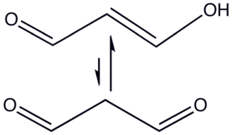 Enol - Malondialdehyde (propanedial) enolization. An example of a 1,3-dicarbonyl compound whose enol is stabilized by hydrogen bonding, leading to detection of a percent or less of  the keto form at equilibrium.