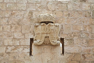 Mistra Battery - Coats of arms of the Order, Pinto and the Bailli de Montagnac above the main entrance
