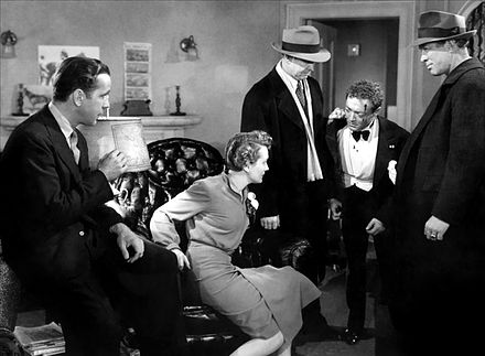 Humphrey Bogart, Mary Astor, MacLane, Peter Lorre and Ward Bond in The Maltese Falcon (1941) Maltese-Falcon-Tell-the-Truth-1941.jpg