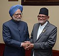 Manmohan Singh meeting the Prime Minister of Nepal, Mr. Sushil Koirala, on the sidelines of the third Summit of the Bay of Bengal Initiative for Multi-Sectoral Technical and Economic Cooperation (BIMSTEC), at Nay Pyi Taw (1).jpg