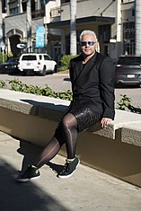 A man in wearing pantyhose