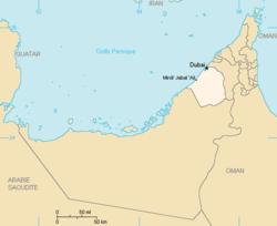 Dubai, byen og emiratet, på et kort over De Forenede Arabiske Emirater.