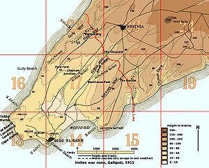 Third Battle of Krithia - Map of Helles war zone. The battle was fought in squares 22, 17 and 18