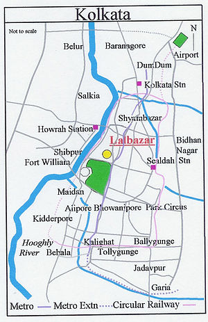 Lalbazar - Image: Map Kolkata Lalbazar