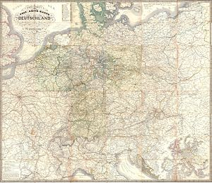 Thurn-und-Taxis Post - Carl Jügel's map of the postal and transportation networks in Germany, 1843