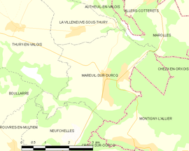 Mapa obce Mareuil-sur-Ourcq