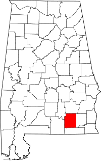 Map of Алабама highlighting Coffee County