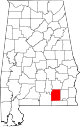 Map of Alabama highlighting Coffee County.svg