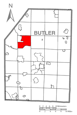 Map of Butler County, Pennsylvania highlighting Brady Township