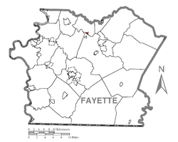 Location of Dawson in Fayette County