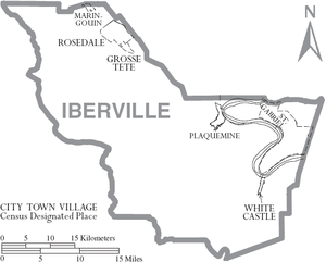 Map of Iberville Parish, Louisiana With Municipal Labels