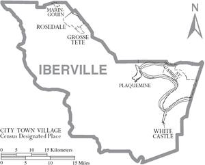 Iberville Parish, Louisiana - Map of Iberville Parish, Louisiana With Municipal Labels
