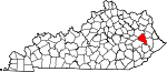 State map highlighting Magoffin County
