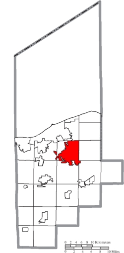Location of Elyria in Lorain County