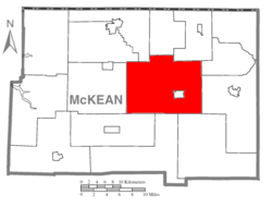 Map of McKean County, Pennsylvania highlighting Keating Township