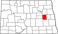 Map of North Dakota highlighting Griggs County