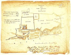 Shorncliffe Redoubt - Map of Shorncliffe Camp, 1801, showing the Redoubt of the left and Shorncliffe Army Camp on the right