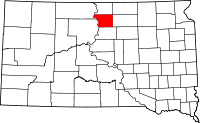 Map of South Dakota highlighting Walworth County