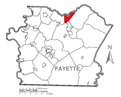 Location of Upper Tyrone Township in Fayette County