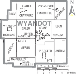 Map of Wyandot County Ohio With Municipal and Township Labels.PNG