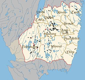 Möre - The small lands of Småland. The black and red spots indicate runestones. The red spots indicate runestones telling of long voyages.