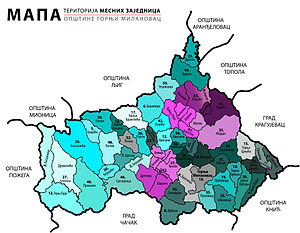 Gornji Milanovac - Map of the settlements in Gornji Milanovac and their territory organisation.