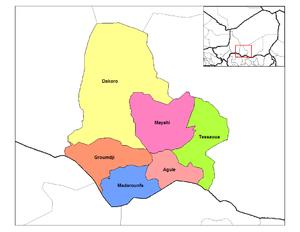 Aguie - Departments of Maradi Region, Aguié Arrondissement in pink.