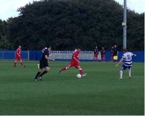 Leiston F.C. - Leiston (in red) playing Margate in 2013