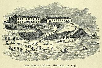 Hornsea - Marine Hotel and Hornsea Beach in 1845