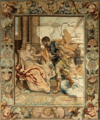 Mars appears to Rhea Silvia, Tapestry on Rubens desing.png
