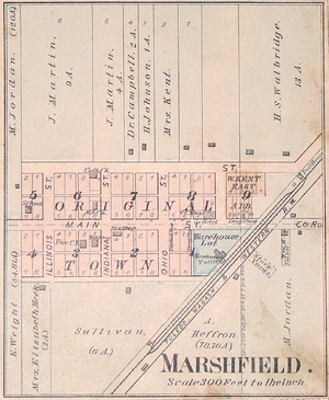 Marshfield, Indiana - Map from 1877 Warren County Atlas