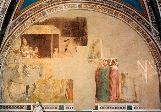Maso di Banco, Storie di san Silvestro, Costantino in trono ascolta Silvestro e poi si fa battezzare da lui, Cappella Bardi di Vernio, Santa Croce, Firenze