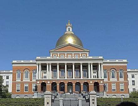 The Massachusetts State House, topped by its golden dome, faces Boston Common on Beacon Hill. Mass statehouse eb1.jpg