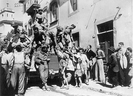 Brazilian troops arrive in the city of Massarosa, Italy, September 1944 Massarosaw.jpg