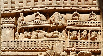 Maya (mother of the Buddha) - Image: Maya's dream Sanchi Stupa 1 Eastern gateway