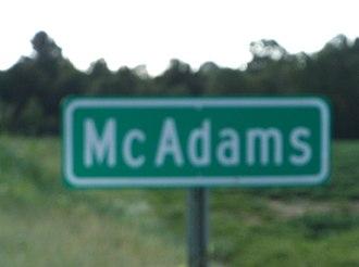 McAdams, Mississippi - Image: Mc Adams MS Highway Sign