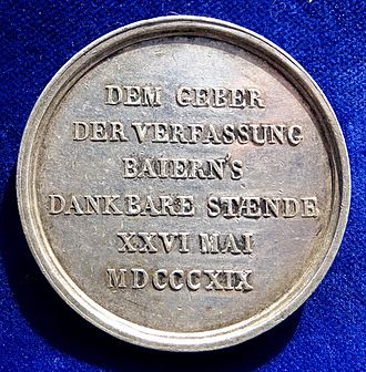 Constitution of Bavaria - Presentation medal of the Bavarian Parliament (Bayerische Ständeversammlung) 1819 to their King Maximilian I Joseph, on the first anniversary of the constitution of 1818, reverse.