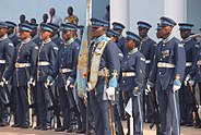 Members of the Kofi Annan International Peacekeeping Training Center honor guard stand in formation during a welcoming ceremony for Ivory Coast Gen. Soumaila Bakayoko, the Economic Community of West African 130626-A-ZZ999-016
