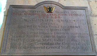 Cyril Deverell - Memorial to Field Marshal Cyril John Deverell in York Minster