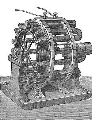 Horseshoe magnet - Long U-shaped horseshoe magnets, on a high-power magneto used to power a lighthouse.